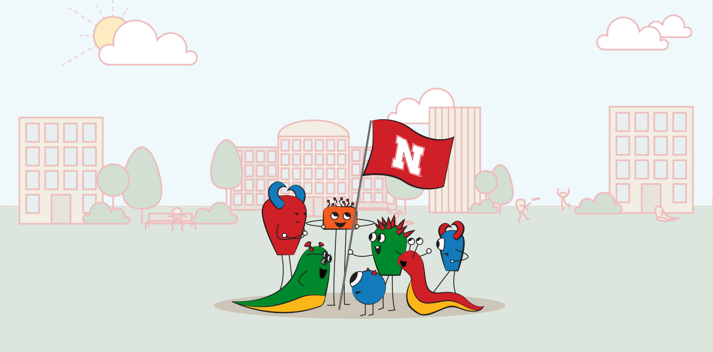Cute monster illustration holding up a Nebraska flag in front of UNL campus
