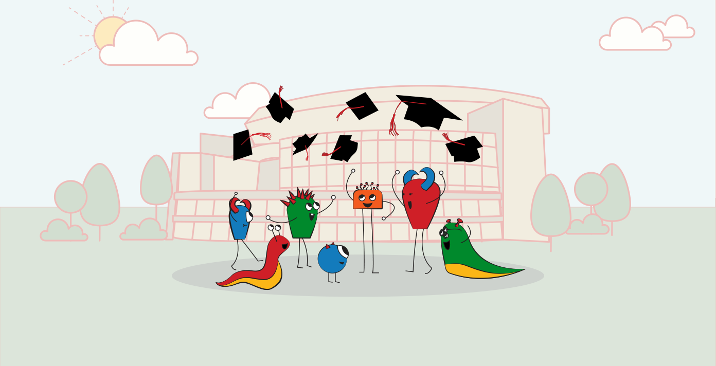 Cute illustrated monsters throwing graduation caps in the air in front of Pinnacle Bank Arena