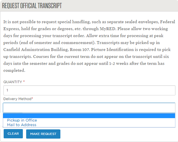 Ordering transcripts office of the university registrar quantity and delivery method screen shown spiritdancerdesigns