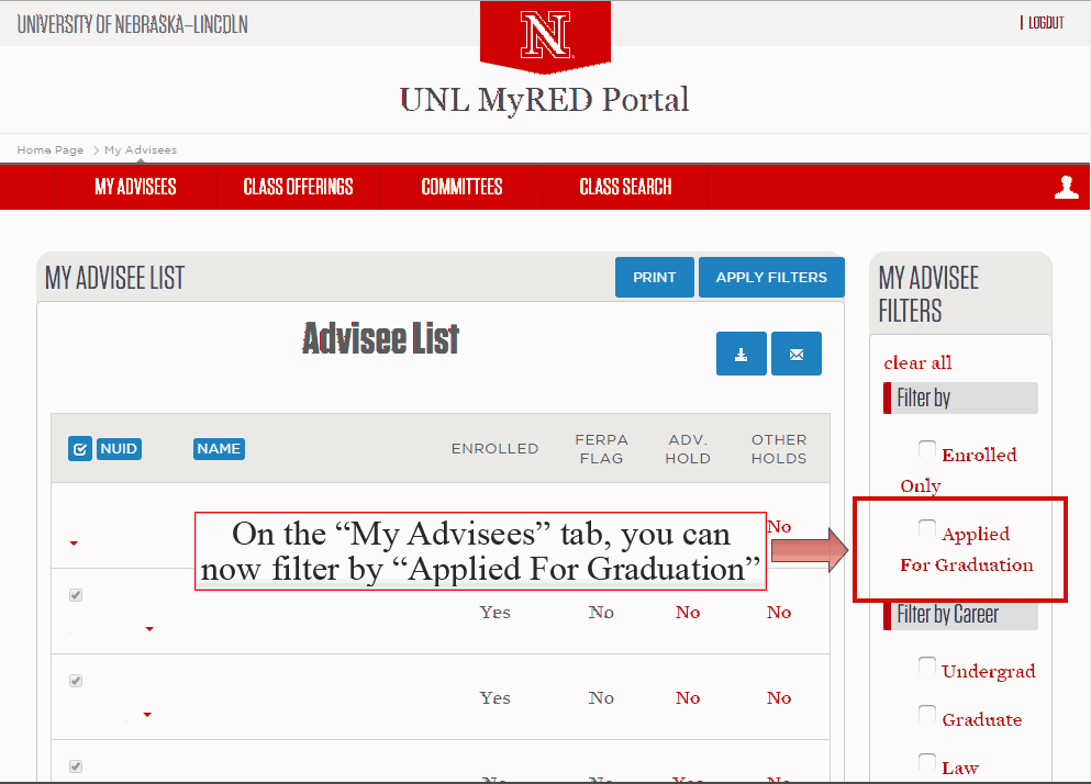 Applied for Graduation check box highlighted under My Advisee Filter sidebar under My Advisees tab.