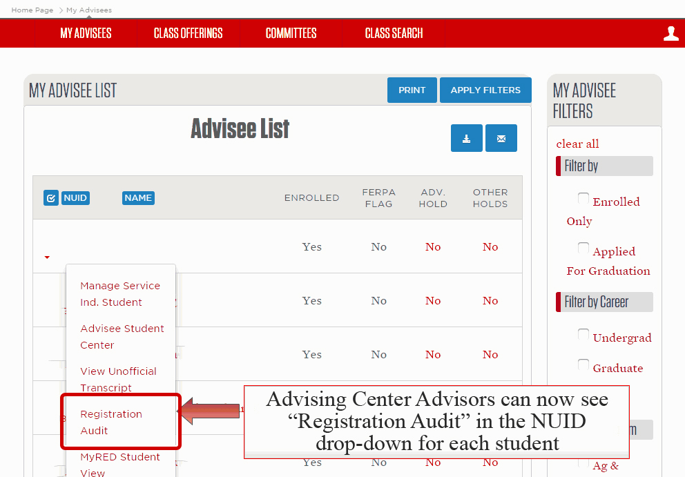 Registration Audit highlighted under NUID drop-down