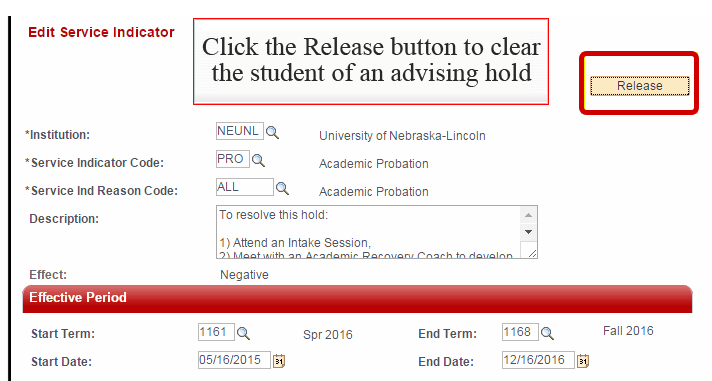 Release Button Highlighted