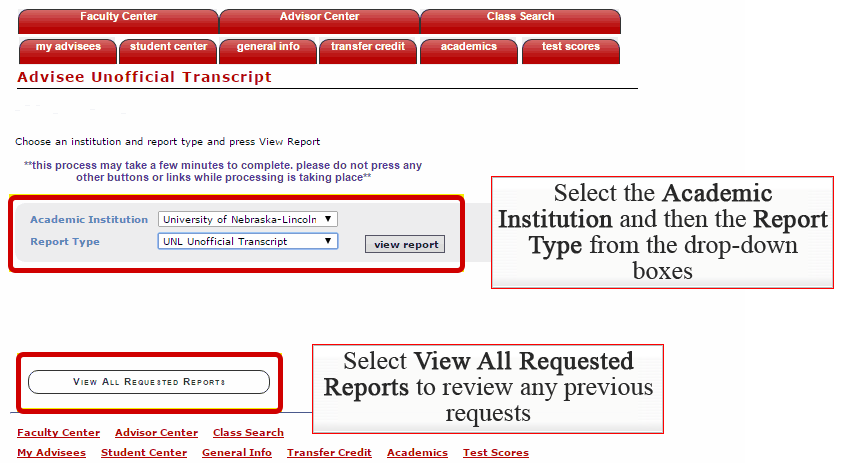 Academic Institution drop-down, Report Type Drop-down, and View All Requested Reports Button highlighted