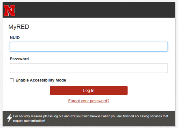 MyRED Log in page