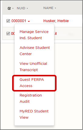 Guest Ferpa Access under the NUID dropdown
