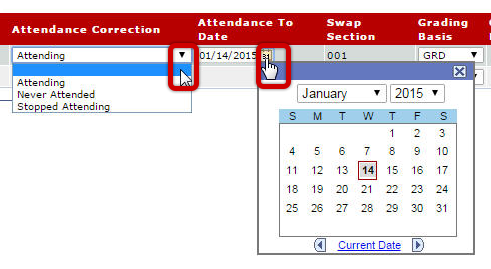 Attendance Correction Dropdown and Calendar icon in Attendance to Date column highlighted