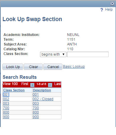 Look up Swap Section