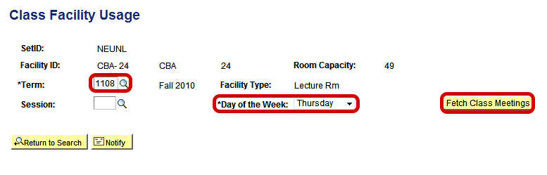 "Enter Term code, day of the week, and click ""fetch class meetings"" button"