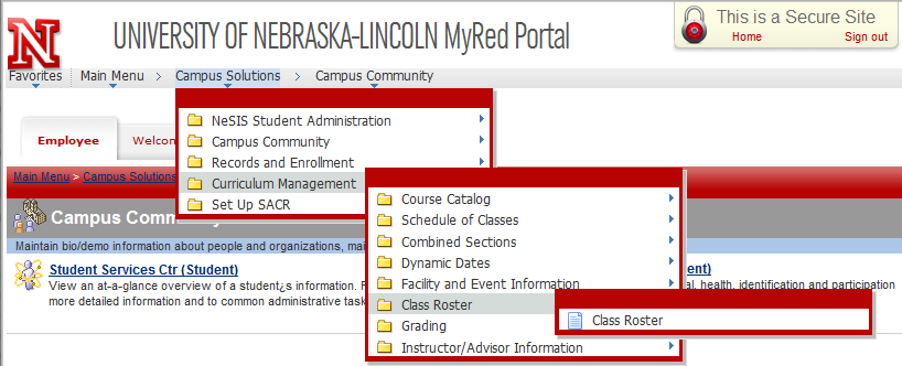 Curriculum Management shown under campus solutions