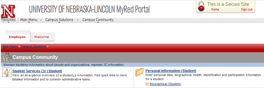 MyRed Employee Tab Personal Information Biographical Student
