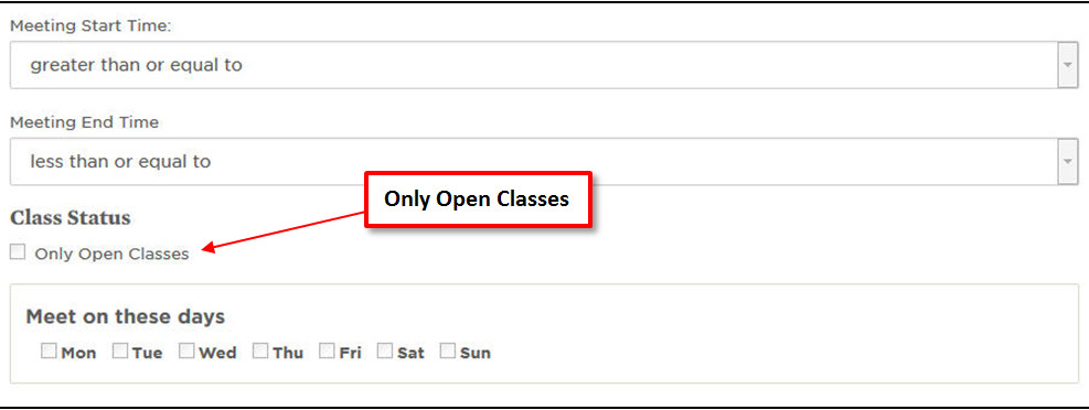 Select Only Open Classes